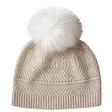 Buy Pure Collection Textured  Cashmere Pom Pom Hat, One Size, Natural Online at johnlewis.com
