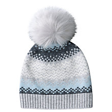 Buy Pure Collection Fair Isle Cashmere Pom Pom Hat, One Size, Grey Online at johnlewis.com