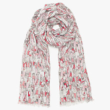 Buy John Lewis Busy People Motif Scarf, Pink Mix Online at johnlewis.com