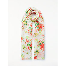 Buy John Lewis Meadow Floral Scarf, Orange/Multi Online at johnlewis.com