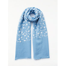 Buy John Lewis Floral Embroidery Wool Scarf, Pastel Blue/Cream Online at johnlewis.com