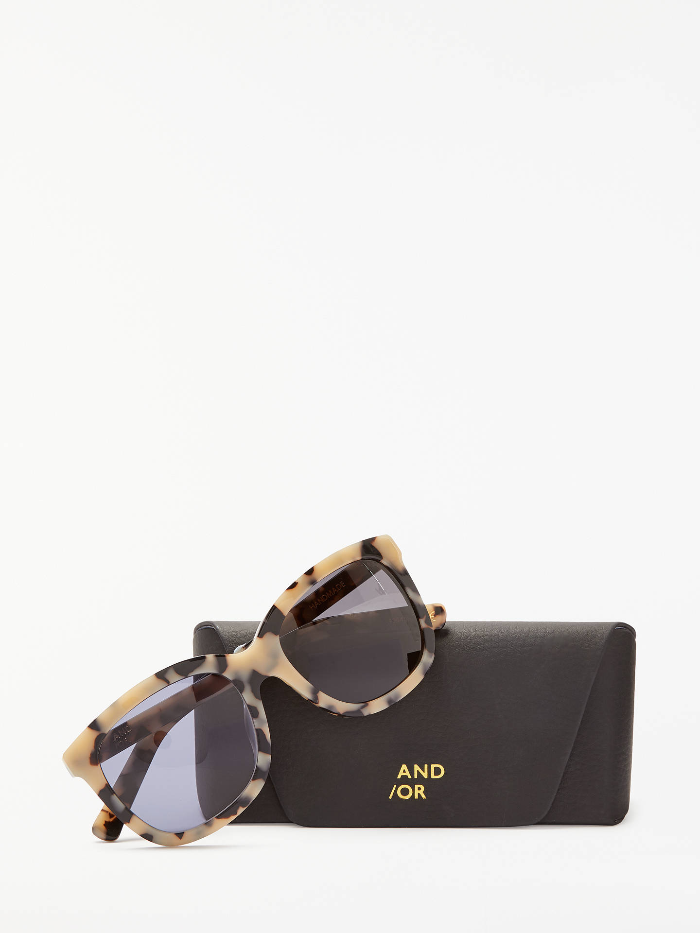 BuyAND/OR Marble Effect Square Sunglasses, Black Mix Online at johnlewis.com