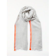 Buy John Lewis Neon Border Scarf, Grey/Orange Online at johnlewis.com