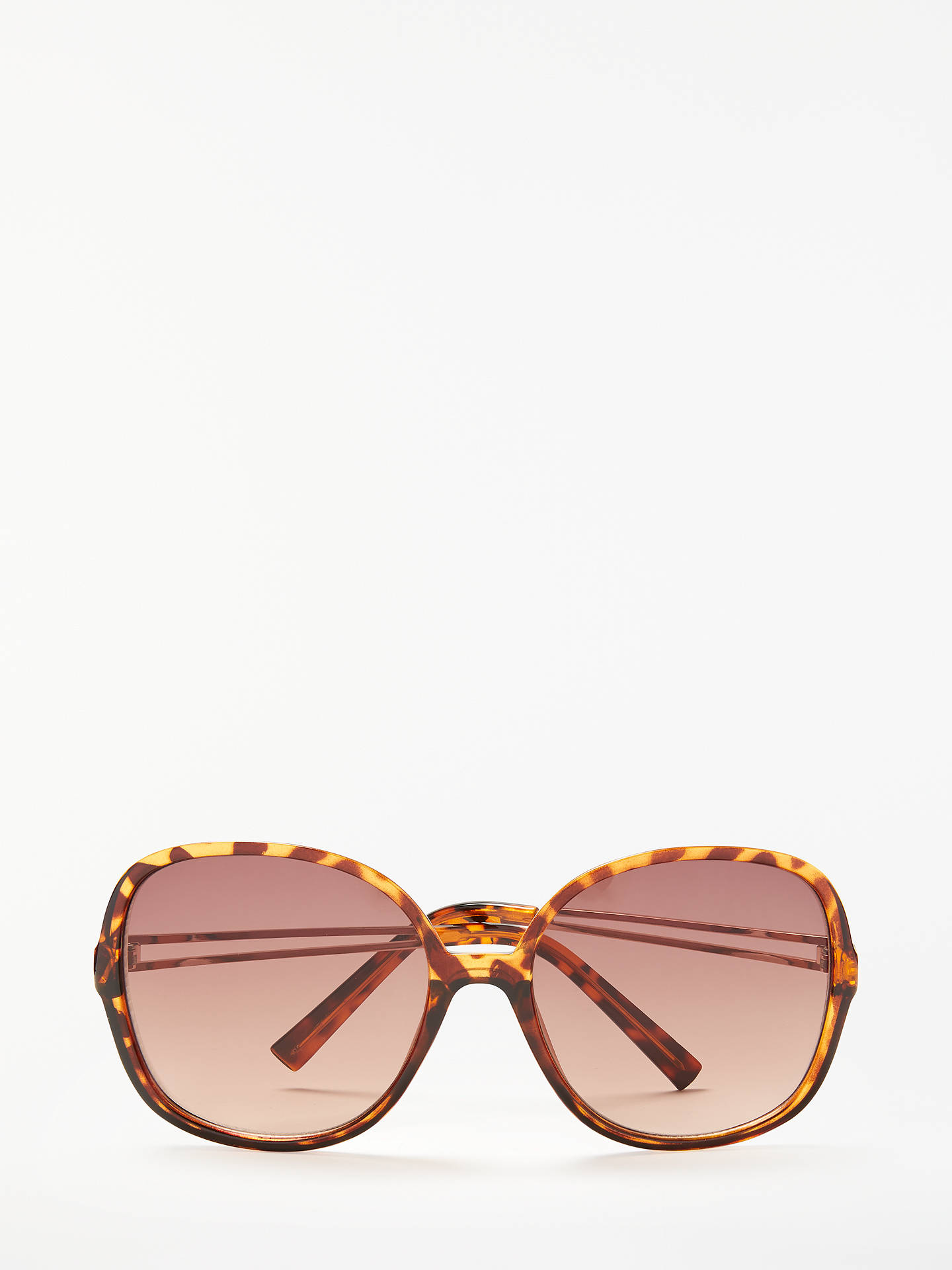 BuyJohn Lewis & Partners Metal Detail Square Sunglasses, Tortoise/Brown Gradient Online at johnlewis.com