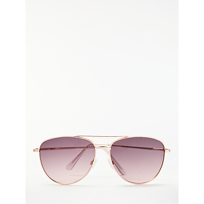 John Lewis Aviator Sunglasses, Rose Gold