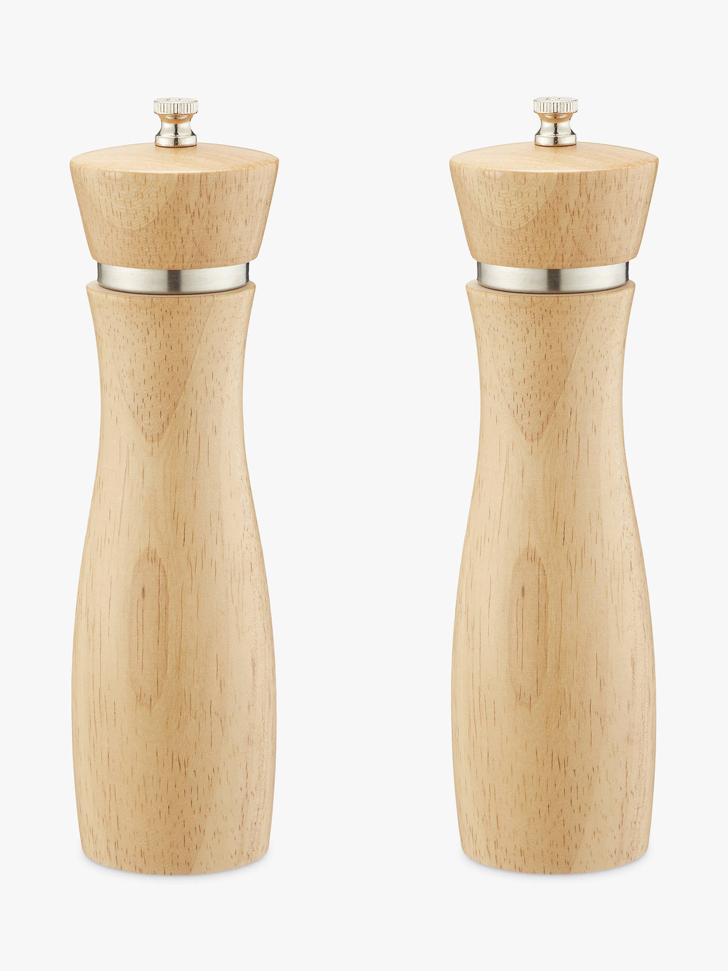 John Lewis Partners Rubber Wood Tall Salt And Pepper Mills Natural Set Of