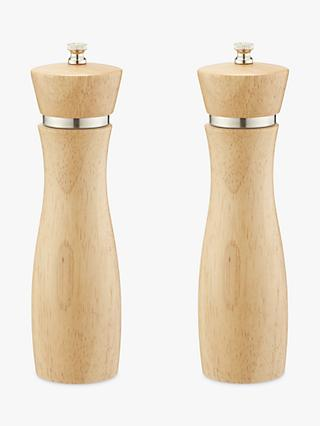 John Lewis & Partners Rubber Wood Tall Salt and Pepper Mills, Natural, Set of 2