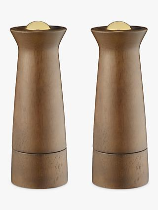 John Lewis & Partners Forest Wood Salt and Pepper Mills, Natural/Brass, Set of 2