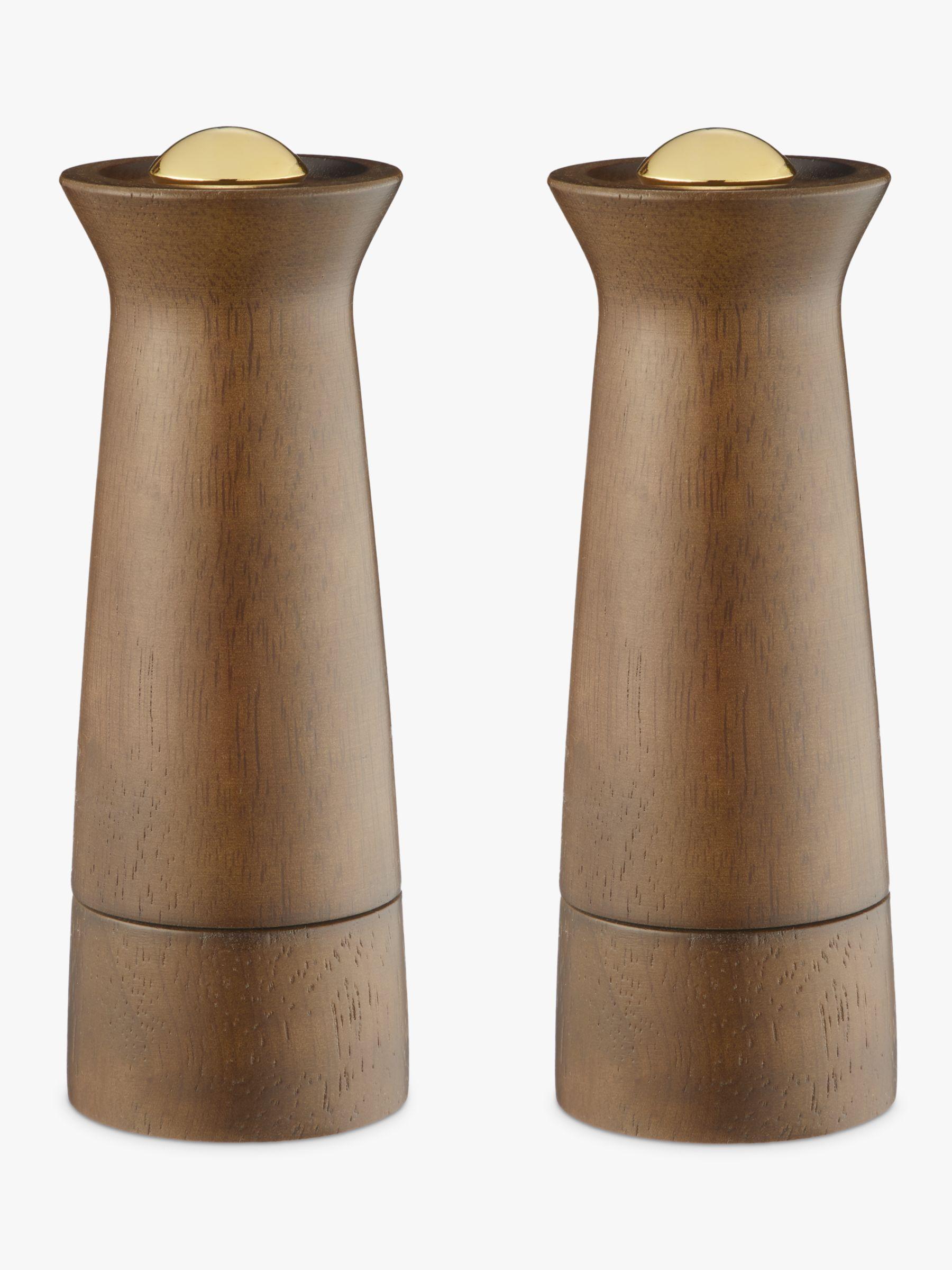 John Lewis Partners Forest Wood Salt And Pepper Mills Natural Brass Set Of 2 At John Lewis Partners