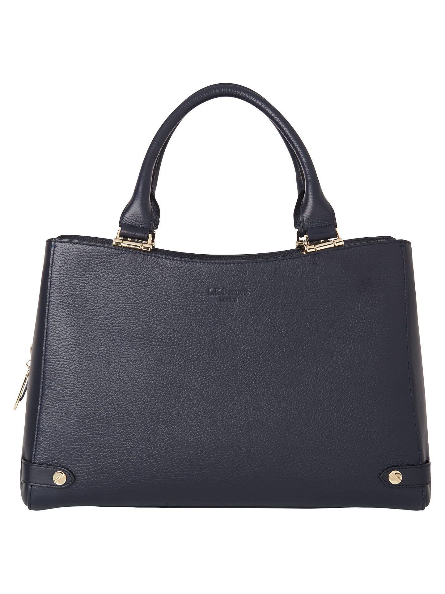 K Bennett Isabella Leather Tote Bag Navy Online At Johnlewis