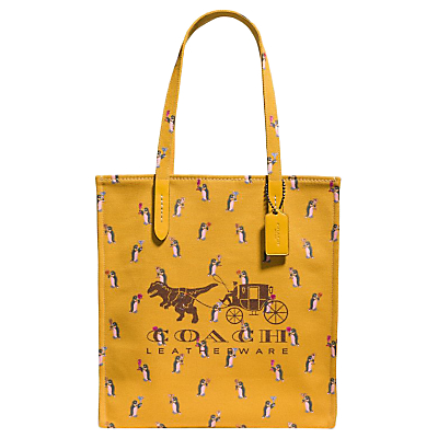Coach 1941 Canvas North/South Rexy & Carriage Tote Bag, Yellow