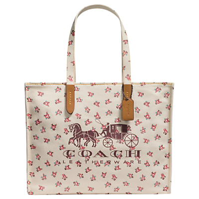 Coach 1941 Canvas North/South Horse & Carriage Tote Bag, Chalk