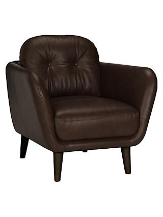 House By John Lewis Arlo Leather Armchair Milan Dark Brown