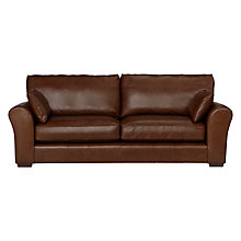 Buy John Lewis Leon Leather Grand 4 Seater Sofa, Dark Leg Online at johnlewis.com