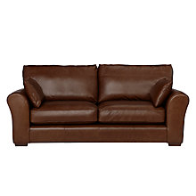 Buy John Lewis Leon Leather Large 3 Seater Sofa, Dark Leg Online at johnlewis.com