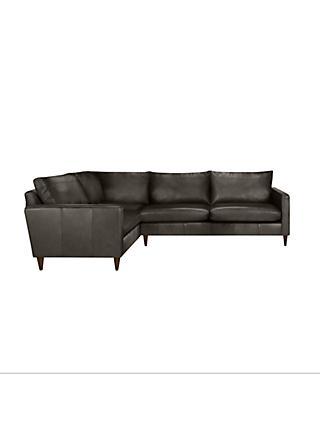 John Lewis Partners Bailey Leather Lhf Corner End Sofa Dark Leg