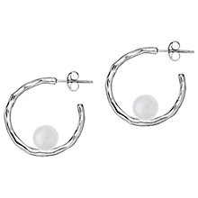 Buy Dower & Hall Sterling Silver Small Edison Pearl Ripple Hoop Earrings, Silver Online at johnlewis.com