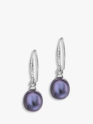 Dower & Hall Sterling Silver Oval Freshwater Pearl Drop Earrings