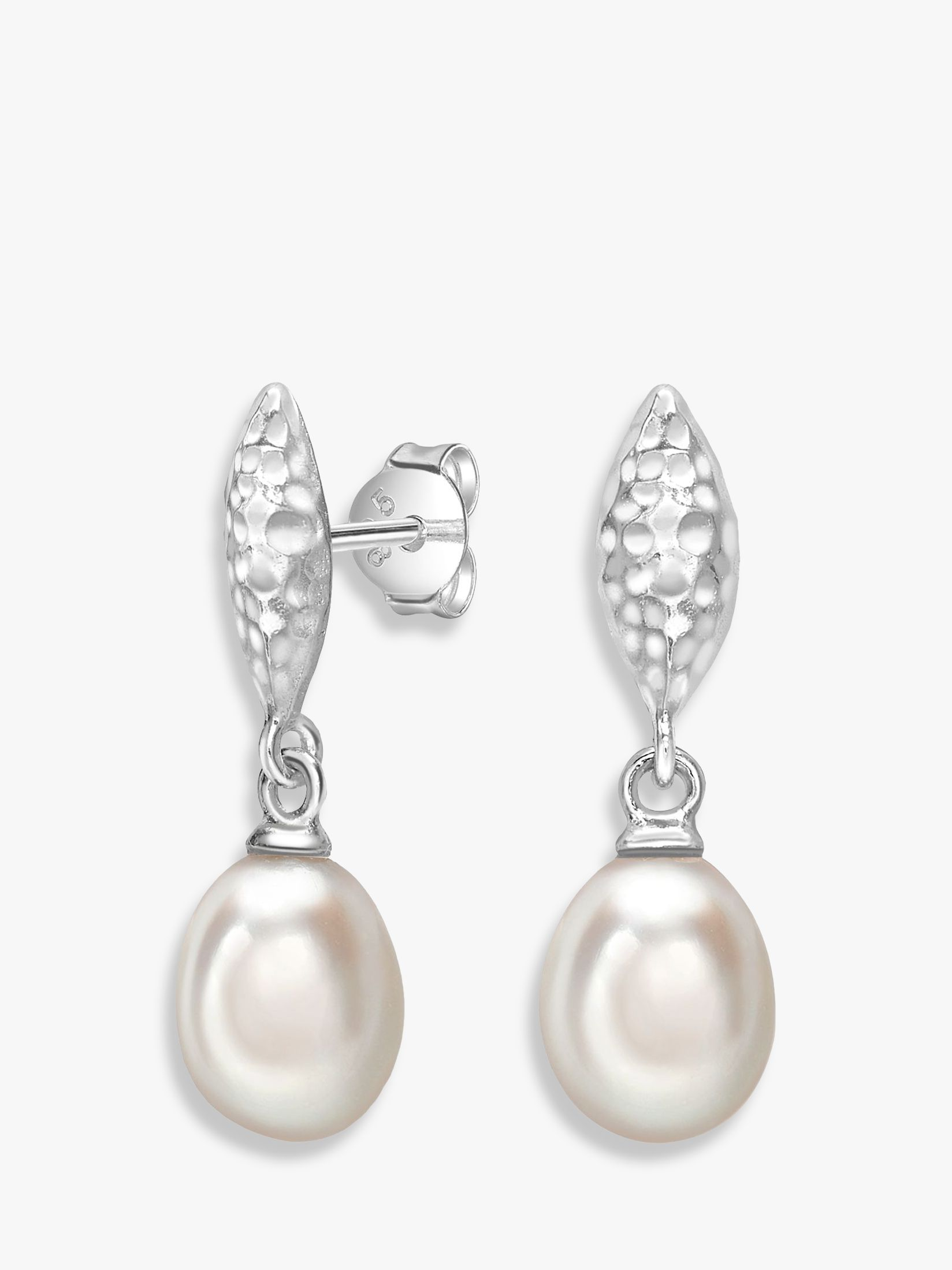 Dower & Hall Dower & Hall Hammered Freshwater Pearl Drop Earrings