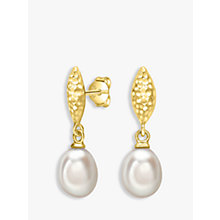 Buy Dower & Hall Hammered Freshwater Pearl Drop Earrings Online at johnlewis.com