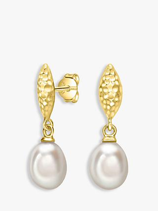 Dower & Hall Hammered Freshwater Pearl Drop Earrings