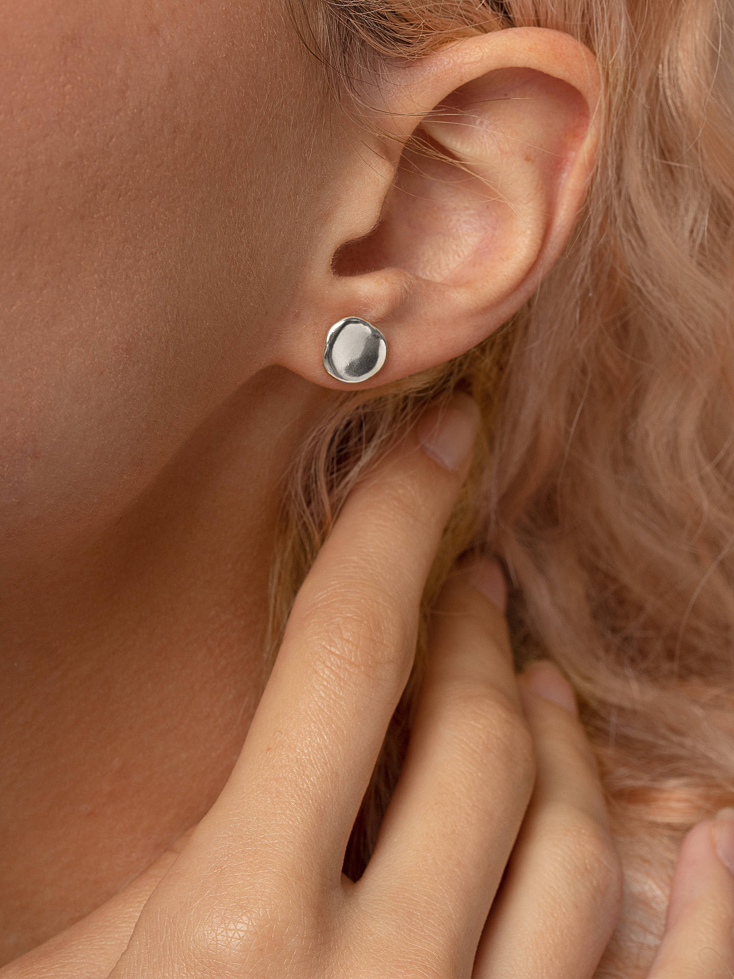 Buy Dower & Hall Sterling Silver Dimple Pebble Stud Earrings, Silver Online at johnlewis.com