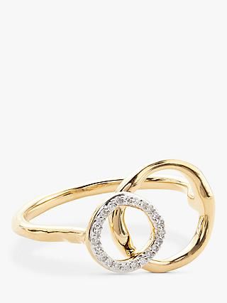 Modern Rarity Diamond Linked Hoop Ring, Gold