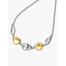 Buy Dower & Hall 18ct Gold Plated Sterling Silver Pebble Pendant Necklace, Gold/Silver Online at johnlewis.com