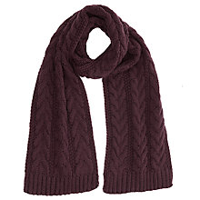 Buy Warehouse Cable Knit Scarf, Berry Online at johnlewis.com
