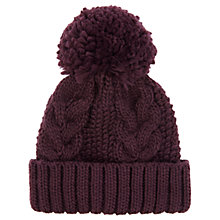 Buy Warehouse Cable Knit Hat, Berry Online at johnlewis.com