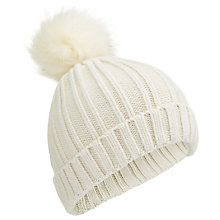 Buy Miss Selfridge Faux Fur Pompom Hat, Cream Online at johnlewis.com