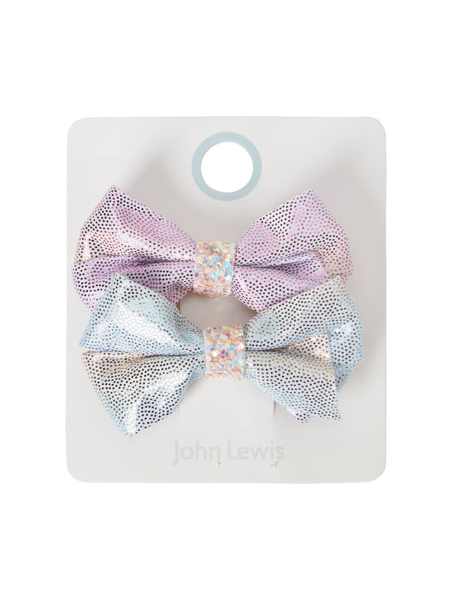 BuyJohn Lewis & Partners Girls' Sparkly Unicorn Bow Hair Clips, Pack of 2, Pink/Blue Online at johnlewis.com