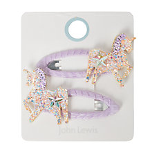Buy John Lewis Girls' Sparkly Sequin Unicorn Hair Clips, Pack of 2, Purple Online at johnlewis.com
