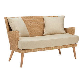 Croft Collection Iona 2 Seater Outdoor Sofa, FSC Certified (Eucalyptus),  Natural