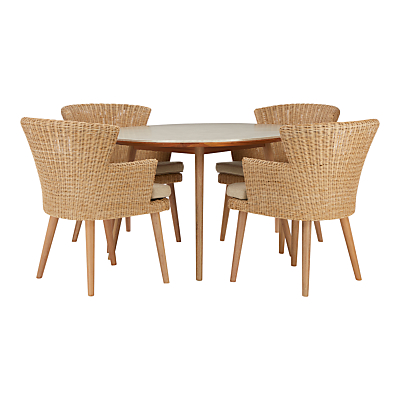 Croft Collection Iona 4 Seater Outdoor Dining Table and Chairs Set, FSC-Certified (Eucalyptus), Natural