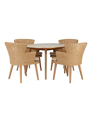 outdoor table and chairs. Croft Collection Iona 4 Seater Garden Dining Table And Chairs Set, FSC-Certified (Eucalyptus), Natural Outdoor