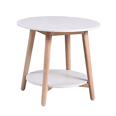 Croft Collection Iona Round Outdoor Side Table FSC-Certified (Eucalyptus Wood), Natural/White