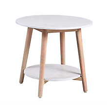 Buy John Lewis Croft Collection Iona Round Outdoor Side Table FSC-Certified (Eucalyptus Wood), Natural/White Online at johnlewis.com