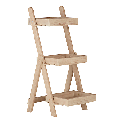 John Lewis & Partners Eden 3-Step Outdoor Plant Ladder, FSC-Certified (Eucalyptus), Natural