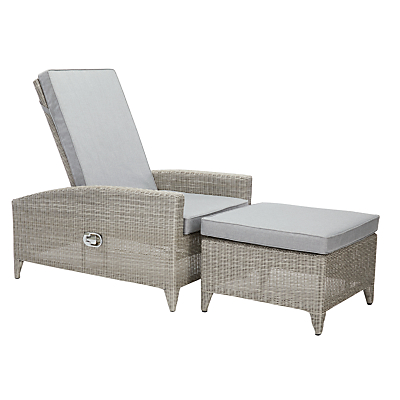 John Lewis Dante Luxury Outdoor Sunlounger and Footstool, Grey