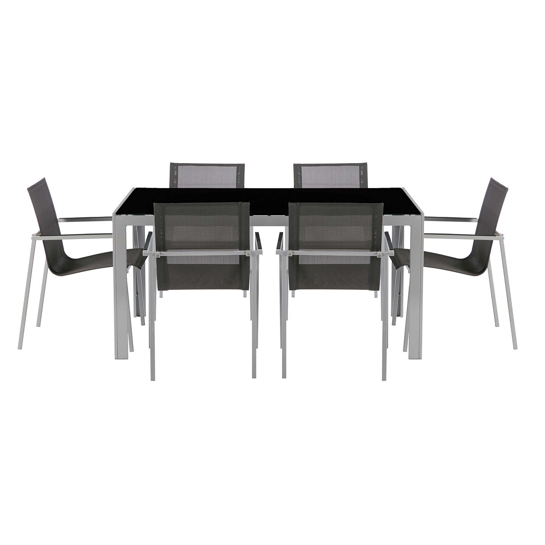 house by john lewis manhattan 6 seat garden dining table chairs set dark grey black