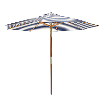 John Lewis 2.75m Wooden Striped Parasol, FSC-Certified (Sycamore), Navy