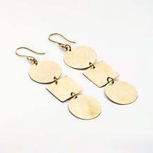 Buy People Tree Statement Circle and Square Drop Earrings, Gold Online at johnlewis.com