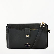 Buy Coach Leather Pop Up Messenger Purse, Black Online at johnlewis.com