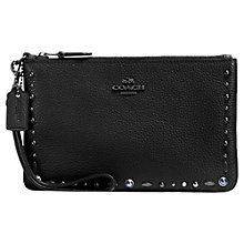 Buy Coach Leather Beaded Wristlet Purse, Black Online at johnlewis.com