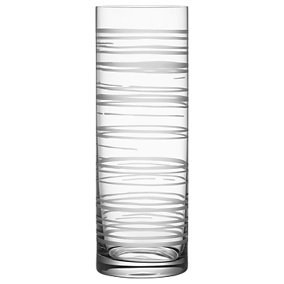 Orrefors Graphic Cylinder Vase, Clear, H30cm