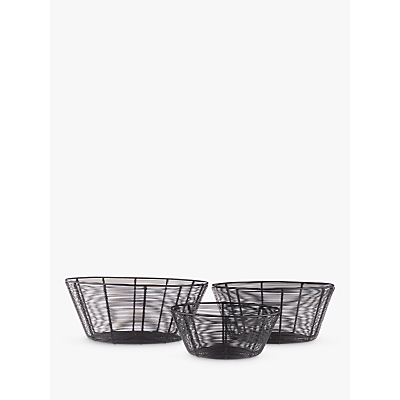 John Lewis Restoration Iron Nesting Baskets, Black, Set of 3