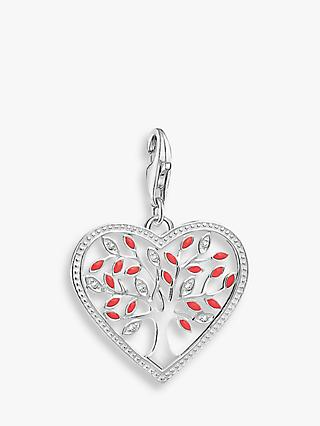 THOMAS SABO Charm Club Tree of Love Heart Charm, Silver/Red