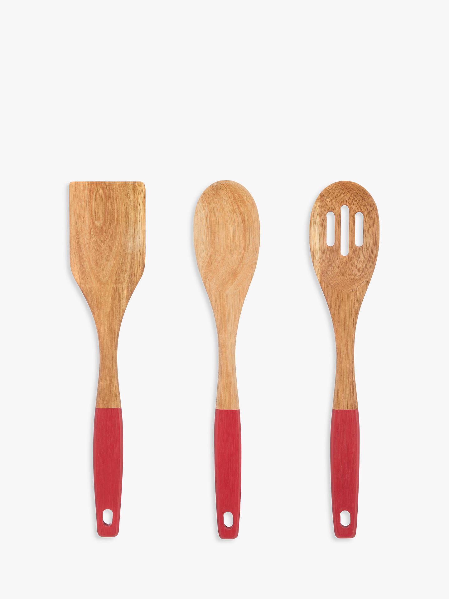 Buy John Lewis & Partners Dipped Wood Utensils, Natural/Red, Set of 3 Online at johnlewis.com