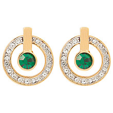 Buy Susan Caplan Vintage 1980s 22ct Gold Plated Swarovski Crystal Round Drop Earrings, Gold/Green Online at johnlewis.com